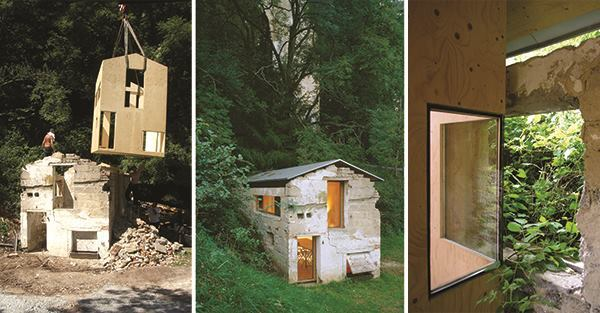 "Insertion: A crane dropped a new shell of weather-resistant plywood inside a 200-year-old abandoned pigsty in Rheinland-Pfalz, Germany, a 2004 project by FNP Architekten. The ""house within a house"" is now used as an occasional showroom and meeting place."