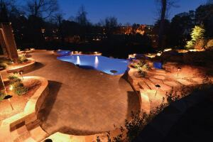 Lit up: Georgia Lightscapes is completing the landscape and outdoor lighting highlighting the features of pools built by Georgia Classic Pool, in addition to other outdoor lighting projects.