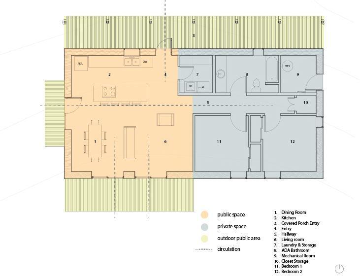 Floor plan for the straw-bale prototype.