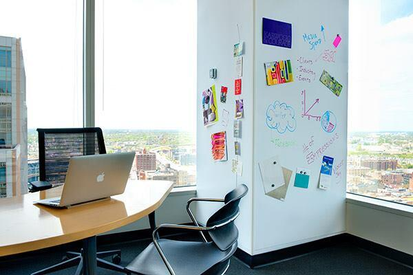 "Writing on an office wall was once potential grounds for dismissal. Then whiteboard paints and coatings came along, allowing nearly any surface to become a place for recording ideas when and where inspiration struck. This whiteboard finish from 3M comes in a film, which the manufacturers says is easier to install and less costly than traditional whiteboard finishes. Available in rolls of up to 48"" wide by 98' long. solutions.3m.com"