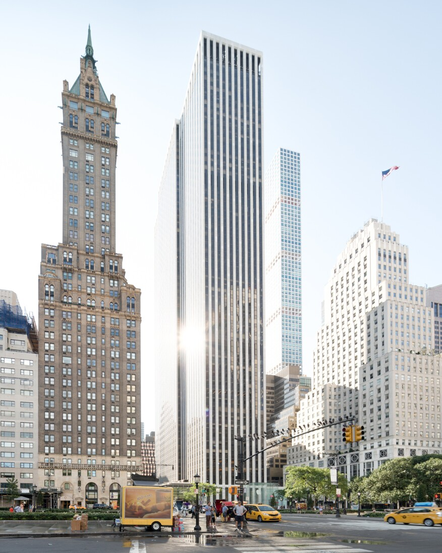 The 1968 Edward Durell Stone-designed General Motors Building, a 50-story project that gained extra floors because the developers also built a public plaza and arcade