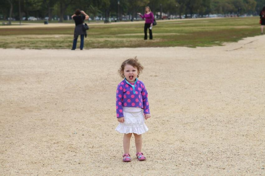 A young visitor to the National Mall expresses her displeasure at the lack of open destinations.