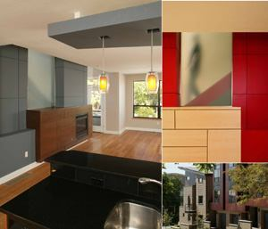 LIGHT AND HEAT: The fireplace wall (above, left) is the townhomes' most dramatic interior element. Each features cherry, maple, or walnut wood veneer and a pane of frosted, tempered glass that hints at the staircase behind (top, right). Simple, attractive materials such as bamboo floors and granite countertops were specced for the bar area (above, left). A butterfly roof on an end unit (above, right) points to mountain views.