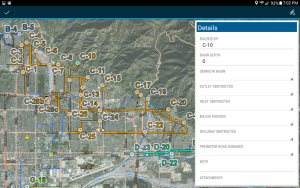 The county's GIMS group divided the Flood Control District's service area into routes and developed a survey for each. Field crews access the app from their county-issued tablets and drive the map's prescribed route, stopping at designated points to record things like reservoir water levels and blockages caused by debris.