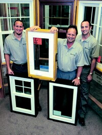 "Regency Windows President Mike Magden, center, with sons Aaron, left, and Harley. He's built ""Mikey"" into a Cleveland-area brand."