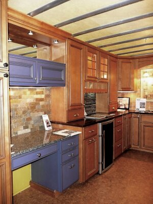 Silvertree Remodelingís showroom on wheels is replete with kitchen cabinet door, countertop, backsplash, and other samples.