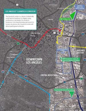A map of the Los Angeles Cleantech Corridor and Green District, which was established by the L.A. Community Redevelopment Agency.