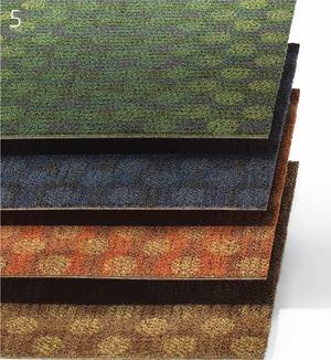 Plan A CollectionMillikenwww.millikencarpet.com  Modular tile    Constructed of tufted, textured loop pile    Six colorways available    Face fabric is nylon    Comes in two sizes: 19.7 inches square and 39.4 inches square    Suitablefor heavy use    PVC-free backing    1/8 gauge