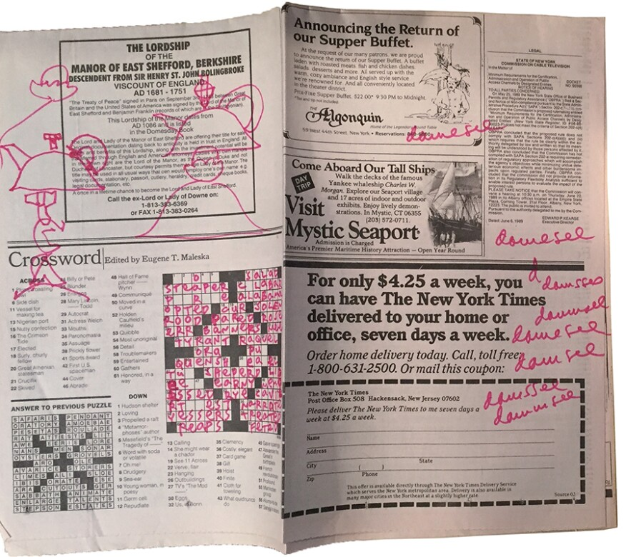 New York Times crossword from June 9, 1989