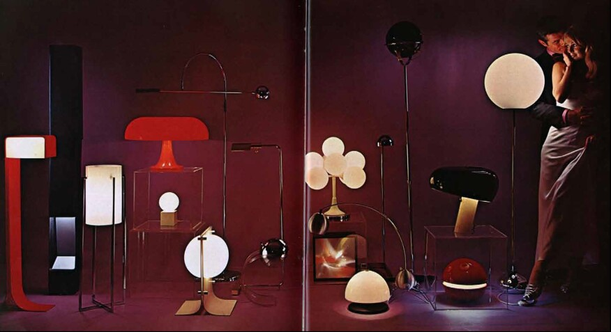 A spread in a 1968 issue of Playboy featuring modern lighting fixtures