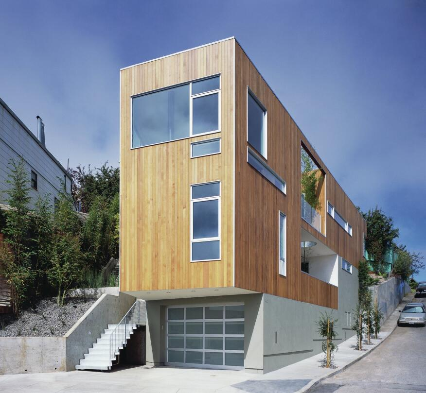 Thee narrow infill site of the Mullen Street house in San Francisco presented little room for a traditional entry sequence, but the resulting stair through the landscape to an inboard courtyard became a defining feature of the project.