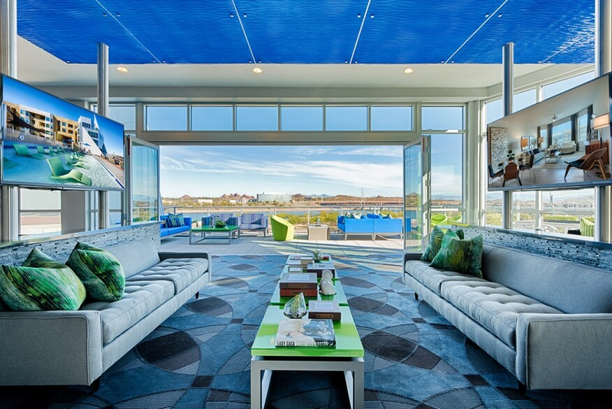 Lennar Multifamily's Skywater at Town Lake apartments, Tempe, Ariz., lounge area.