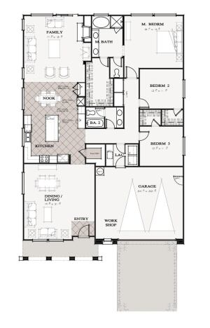 The Old Way This 2,300-square-foot plan on a standard lot measuring 55 feet wide by 100 feet deep wastes square footage both inside and outside.