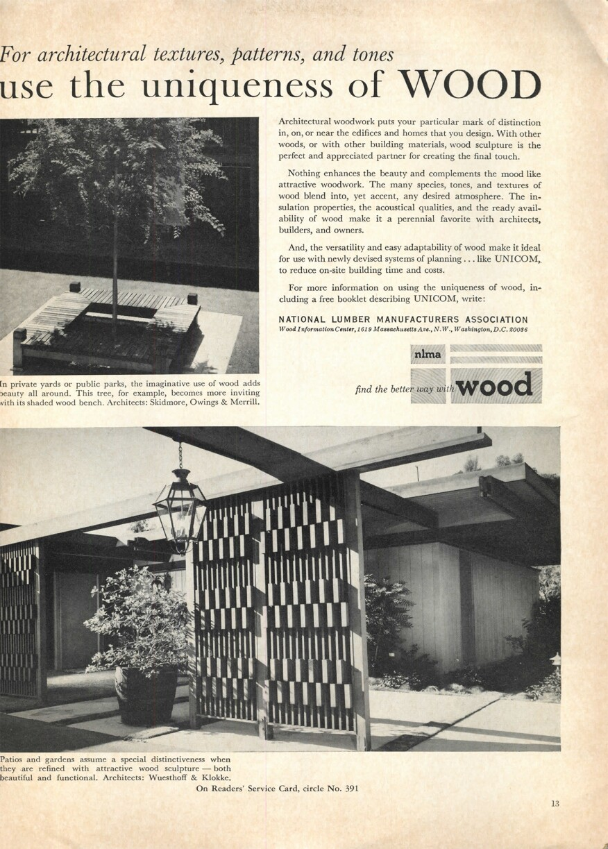 "Two pieces, designed by Skidmore, Owings & Merrill and Wuesthoffe & Klokke, featured in the July 1965 issue of ""Progressive Architecture/Pencil Points,"" to illustrate how wood can provide warmth for an environment."