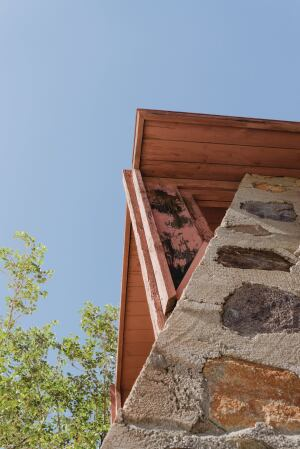 Chipped and faded paint are prevalent at Taliesin West.