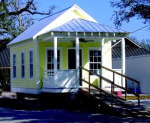 "FOR THE LONG HAUL: This Creole-revival ""Katrina cottage"" honors the Gulf Coast's architectural heritage, with one exception: It's storm-proof. Roughly 20 different cottage plans are currently on the boards."