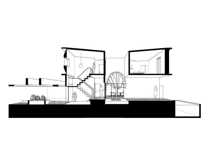 A sectional drawing of HDJ89, a single-family house in Tijuana.