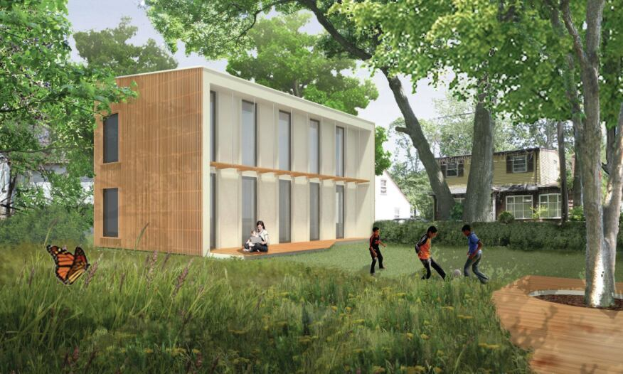 A rendering of Attain This!, an affordable housing project that Holler Architecture and AB Architekten are designing in Deer Park, N.Y., for the Long Island Housing Partnership. The prototype is expected to achieve Passive House standards.