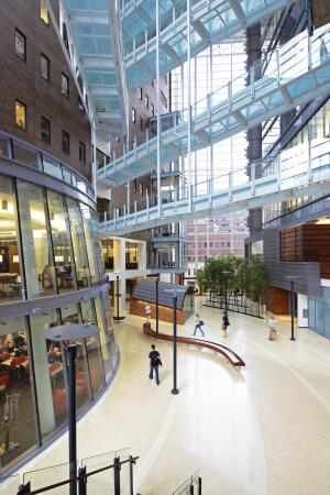 To foster interaction between the multiple departments housed in the facility, the architects crafted various spots that encourage collaboration. The most dominant of these spaces is the atrium, which features a natural ventilation plan designed to reduce energy use. Adjacent to this common area, the design team cut a two-story opening into the older building to create a research library, whose curved windows look out on to the atrium. On higher floors, the facility mixes wet and dry research laboratories, administrative offices, dining areas, an auditorium,    a fitness center, and other support spaces.