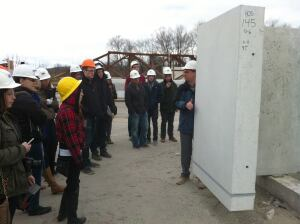 Staff at Universal Concrete extended NJIT student's knowledge of precast concrete by giving them an educational plant tour.