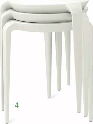 Tavollini    Hellerwww.helleronline.com  Injection-molded nylon stacking side table    Appropriate for indoor or outdoor commercial, institutional, and residential use    Available in white, black, and red 185/16 inches high and 18 1/8 inches in diameter    Weighs 4.85 pounds    Designed by Mario Bellini