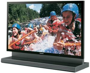 The picture display of Panasonic's 103-inch plasma HDTV measures 4 feet tall by nearly 7-1/2 feet wide. The manufacturer notes that the 485-pound unit is large enough to contain the equivalent of 50 basketballs, lined up edge to edge, or four 42-inch plas
