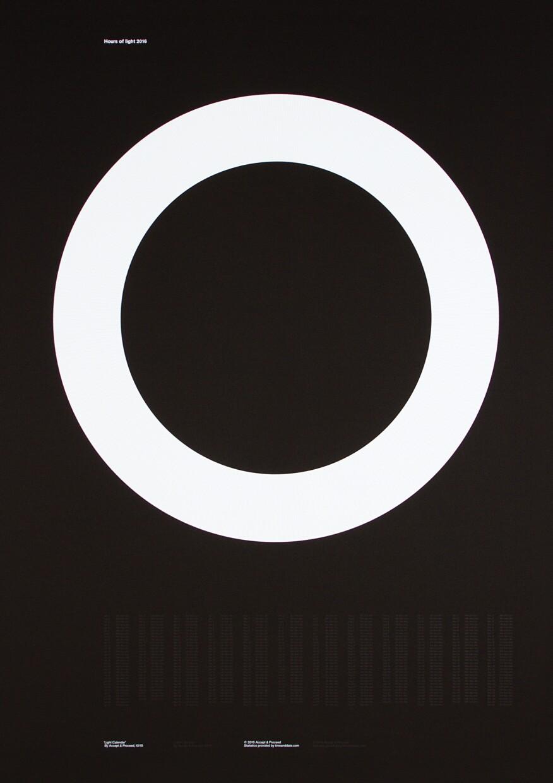 Light Calendar 2016 depicting the Hours of Light