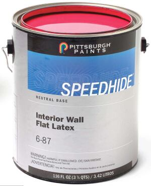 Speedhide interior latex paint    PPG/Pittsburgh Paintswww.pittsburghpaints.com  Product line meets LEED VOC requirements in all relevant classifications    Includes latex and alkyd products for interior and exterior use    Available in flat, eggshell, and semigloss finishes    Wide color selection    Interior Wall Flat Latex contains 17 grams of VOCs per liter