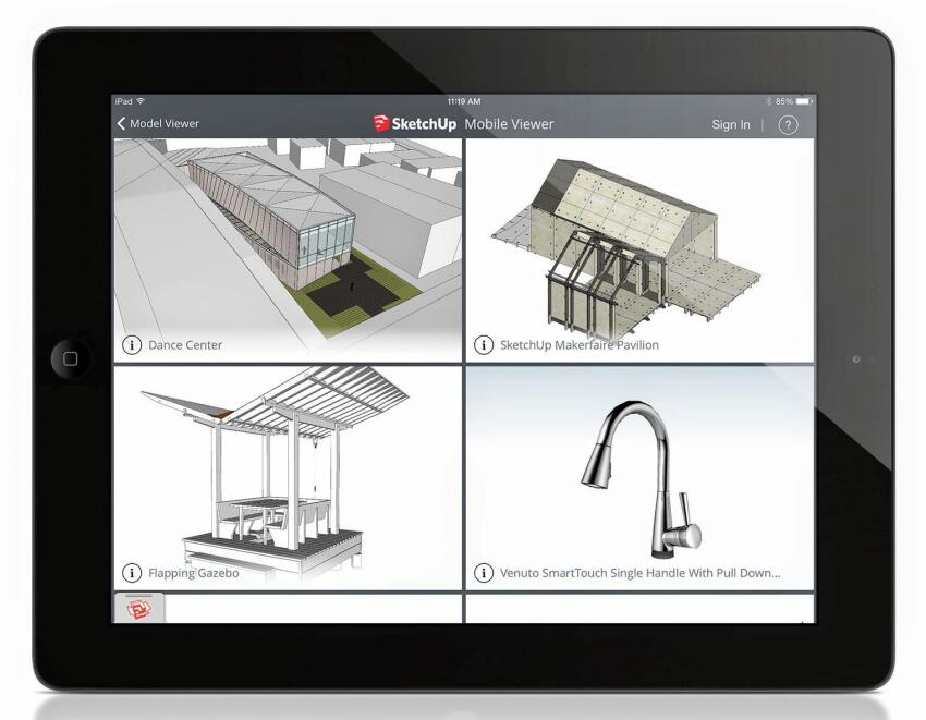 SketchUp's Mobile Viewer for iPad lets users view their own models or models available on SketchUp's 3D Warehouse.