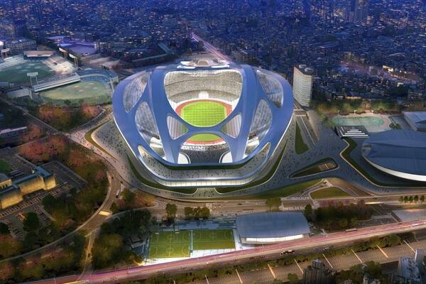 A rendering of the Tokyo stadium by Zaha Hadid Architects