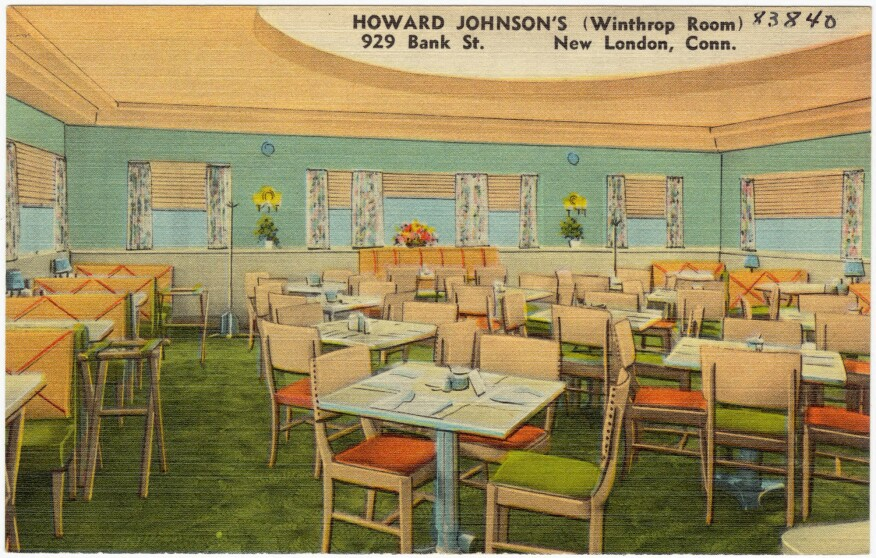 An illustration of the dining room at a Howard Johnson's location in New London, Conn.