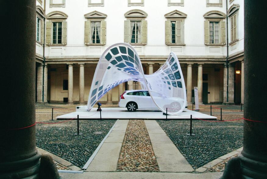 """SDA collaborated with engineering firm Buro Happold and Fabric Images, based in Elgin, Ill., on the """"Pure Tension"""" Volvo Pavilion, a tensile membrane structure with integrated PV panels, designed to house—and charge—the new Volvo V60 hybrid car."""