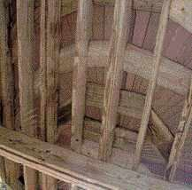 Figure 9. Some decking in the fan shape runs parallel to the joists, and the need for blocking to support it is obvious. Additional blocking allows the decking screws to be installed in concentric circles.