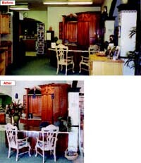 Leon and Harriet Noel kept the popular cherry entertainment cabinet display in their reception area. Harriet updated the lighting (top) by removing the fluorescent strips and adding three blue pendant lights over the countertop.