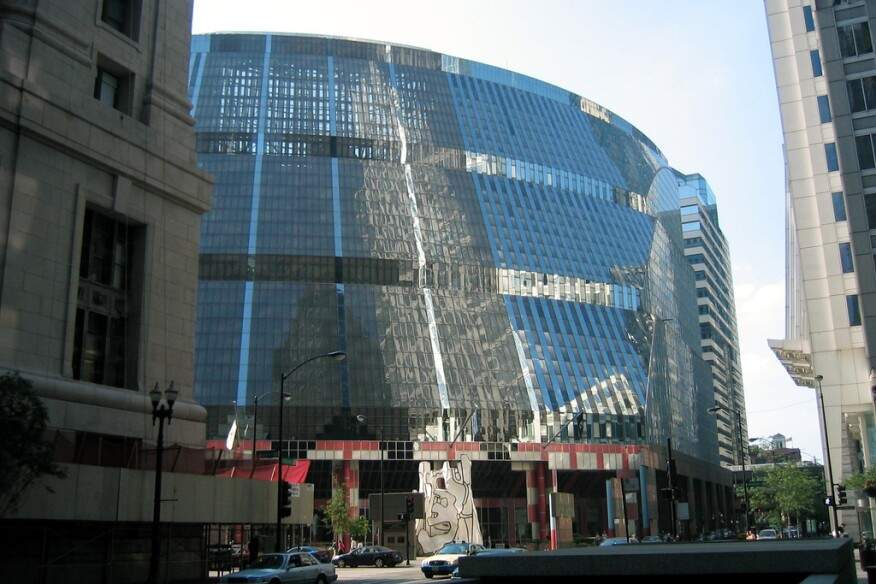 The James R. Thompson Center, Chicago, by Helmut Jahn.