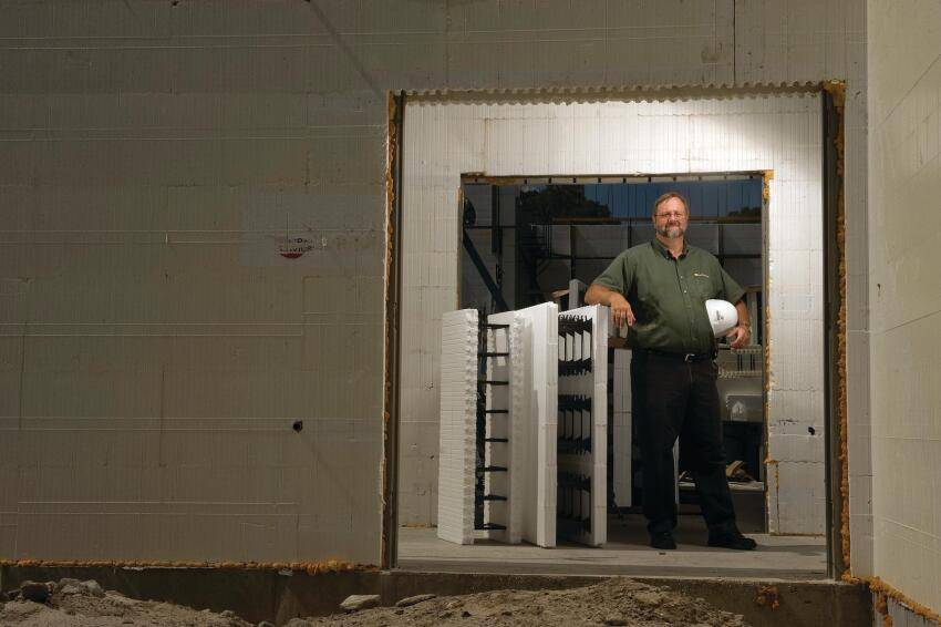 """Block Believer: Bob Cenk, vice president of operations for Homecrete Homes in Stuart, Fla., has built exclusively with ICFs since 2004. """"I believe this is the way we should be building all homes, and not just in this market."""" Between 2006 and 2008, the market share for ICFs as an above-grade wall system more than doubled, if only to about 1.7% of all new homes."""