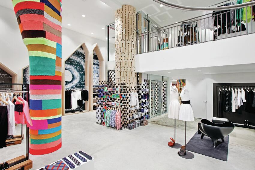 Magda Sayeg knitted this brightly colored covering for a third-floor column.