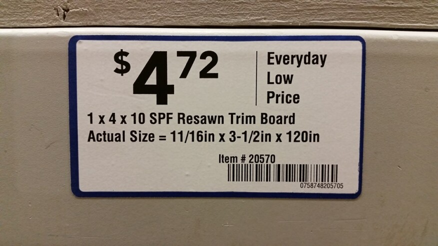 Label from a Lowe's store