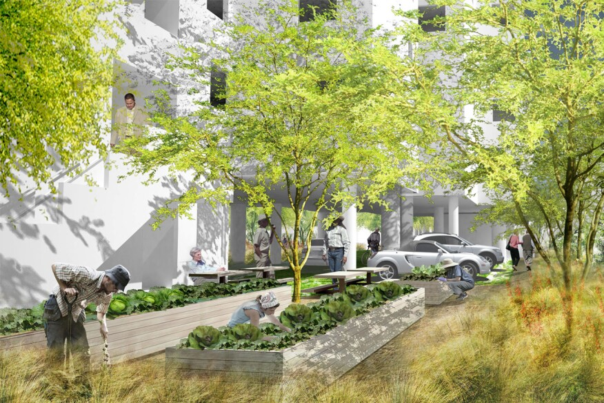 A rendering of Maltzan's Crest Apartments