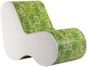 "Jürgen Mayer H.'s new design for Bisazza Home offers a literal twist on conventional glass tile. As shown here on a polyurethane chair, the glass mosaics are adhered to flexible sheets (the Data collection comes in black, red, and green). The tiles can be used on walls and furniture, as well as high-traffic floors.    Approximately 12 3/5"" x 12 3/5"" sheets  bisazzausa.com"