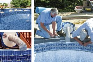 Suction function: Be sure to position the vacuum in a central location. The suction will smooth out wrinkles. Generally, you can fill the pool half way and then turn the vacuum off. The liner should stay firmly in place. Got a bench? Place several sandbags on it to weigh the liner down.