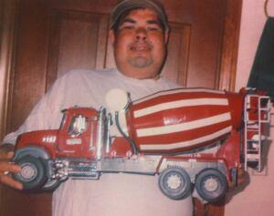 James Hernandez showcases a model ready-mix truck