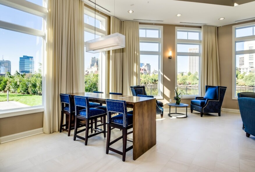 The indoor common area embodies a nautical vibe for residents to make the most of this waterfront property.