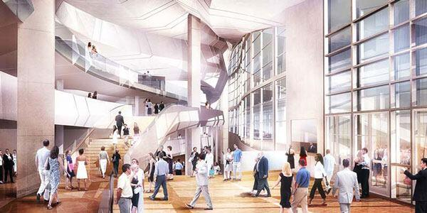 A rendering of the theater lobby.