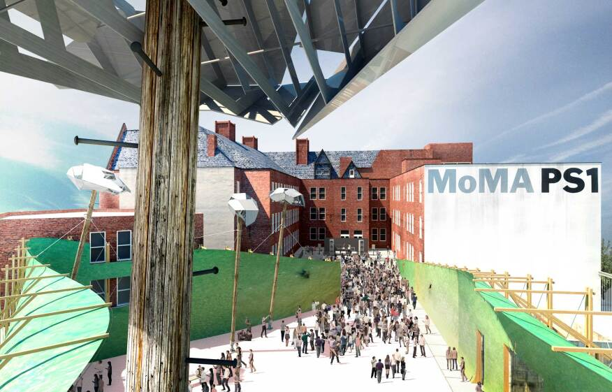 MoMA PS1 Young Architects Program proposal: Drones' Beach, drone's nest view.
