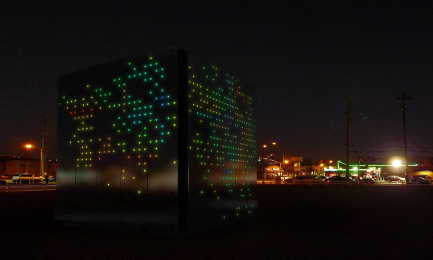 LEDs embedded in Mobile ArtSpace container's skin