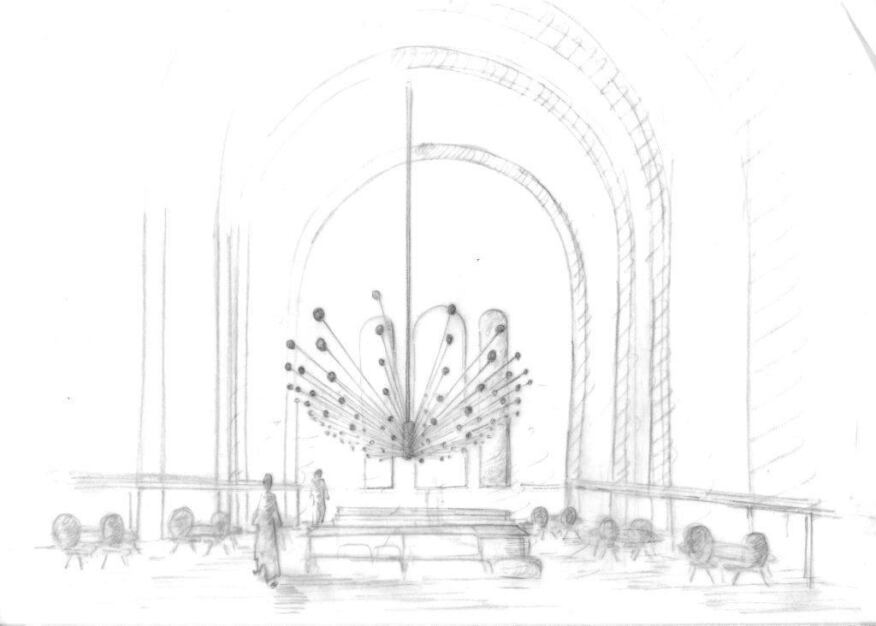 Design concept sketch of the chandelier-like installation for the main dining area at The Jane restaurant.