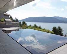 THE CANVAS: A tight, elevated lot overlooking Horseshoe LakeTHE PALETTE:Meticulously honed bluestone, black granite in multiple textures, a clear sheet of water with glass railings to matchTHE MASTERPIECE: An aquascape so precise it seems to have jumped off a draftsman's table
