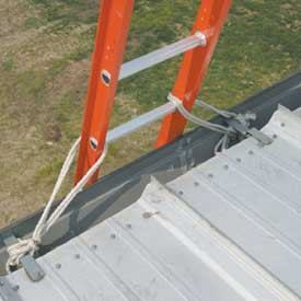 If a ladder has any chance of sliding out of position, tie-off the top of the ladder on both sides to prevent movement.