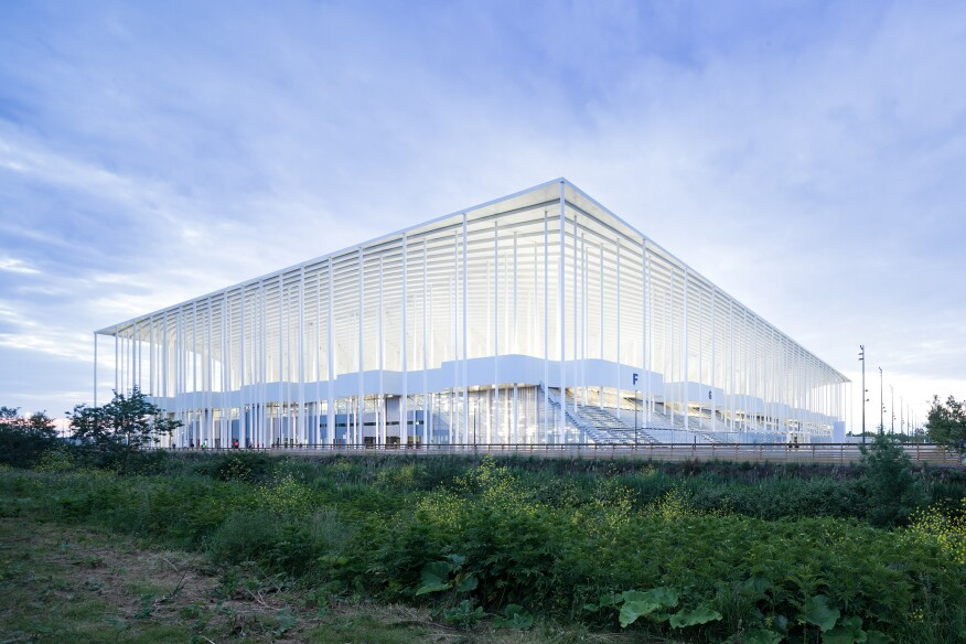 In late May, the Football Club des Girondins de Bordeaux played its first home game at its new stadium. In the design for the 829,790-square-foot structure, the Basel, Switzerland–based architecture firm chose to forgo a conventional façade and construct an open-air form that suggests the function within.